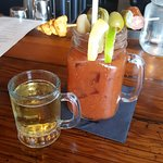 Bloody Marys with Stillmank Brewing Killer Bees (jalapeno ale) as a chaser