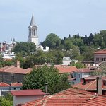 view or the trees and red tiled roofs from rooftop terrace