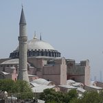 view of Hagia Sophia from the rooftop terrace