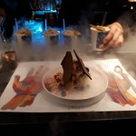 Chef's Special Dessert - Ice Cream Mix with Chocolate Bars. Special Iced Coffee with Rosses Verm