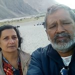 Selfie with the sand dunes as background