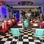 Harleywood American Diner interior seating and styling