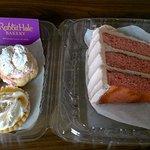strawberry cake, cream puffs and lemon tart