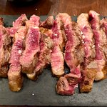Charcoal grilled Wagyu sliced tableside