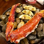 Charcoal grilled king crab leg