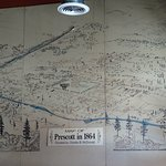 Prescott historical map circa 1864 on wall in Rosa's