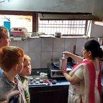 Cooking lesson at Varanasi cafe near Alka hotel.