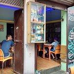 Enjoying a meal at Varanasi cafe D3/75 Meerghat