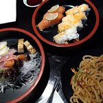 Sashimi, udon, California with fried shrimp and salmon nigiri