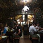 Cellar-like restaurant interior