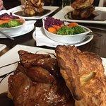 Roast lamb and roast pork.