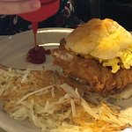 Chicken Egg and Cheese Biscuit with Hashbrowns