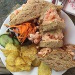 A well filled prawn sandwich