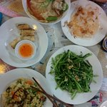 Fried spring rolls, fried morning glory with garlic, pho, veggie fried rice, white rose dumpling