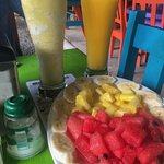 fruit plate and fruit juices