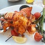 grilled seafood combo (RECOMMEND) - 6 oz lobster tail, 1 skewer shrimp, 1 skewer scallops