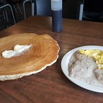 A huge Pancake and Biscuits & Gravy