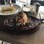 Double Layer Cay Lime Pie in the background & Sizzling Brownie in the foreground. Succulent dess