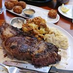 Prime Rib Perfection. Roasted Cauliflower. Mashed Potatoes. Tater Tots.