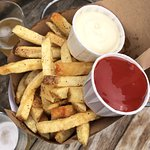 fries with garlic aioli and truffle ketchup