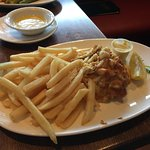 10 ounce Crab Cake with a side of fries.