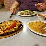 (L to R) Chicken Fajitas, Tongue Tacos, Rice and beans, and Salsa