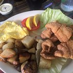 Fried catfish, scrambled eggs and home fries....YUM!!!