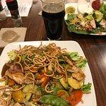 Szechwan Stir Fry, Mahi Tacos, Bent Paddle Black Ale