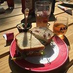 Lunch with the cherry chicken salad sandwich, cherry iced tea & cherry white wine