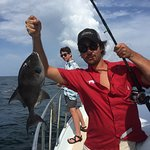 My son Sebastian catching his first Triggerfish! Had to let go, the season started the next day!