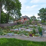 Garden with bocce court and fire pit