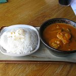 Tiger prawn red curry, coconut rice