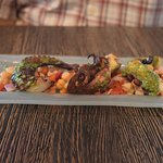 Grilled octopus - chickpeas and cucumber
