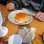 Bacon and eggs on soft brioche