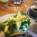 Avocado and haloumi eggs, long black and little gerry juice