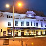 All lit up at night time. Marina Theatre, Lowestoft, Suffolk.