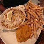 Stuffed haddock, fries and squash.