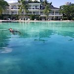 Son enjoying one of the large lagoons.