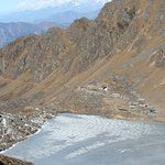Looking down to the main Gosainkunda Lake and over to the Manaslu and Annapurna regions