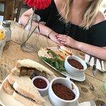 Cumberland sausage sandwich - Bacon, mozzarella and chilli jam panini + a side bowl of chilli