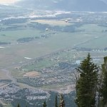 View of Teton Village from the top of the Wildflower Trail - note the hot air balloons below!