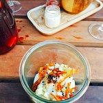 "Creamy cauliflower puree, Zurek Zakwas, Instock ""truffle"", crispy hay of vegetable"