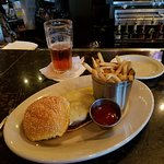 Angus burger with fries.