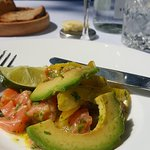 Salmon ceviche with avocado. Delicious!