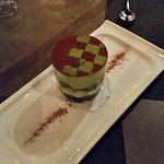 Hazelnut Sponge, green tea mousse, checkerboard chocolate top