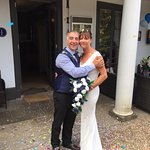 Our wedding day, lovely from start to finish, got married on the lawn, weather and location was