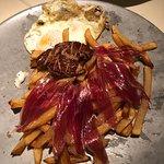 eggs with potato, jamon iberico and fois gras