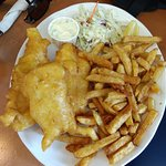 2-piece of cod with fries (it came 3 pieces but I believe one was to compensate the small size o
