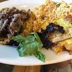 Mofongo with Pernil, gandule rice and tostones