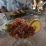 Lobster appetizer looks abundant but actually had a huge bed of shredded lettuce